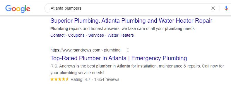 schema markup used for local SEO of Atlanta plumber