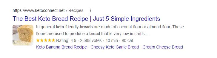 schema markup used on keto bread recipe